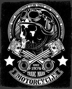 Vintage Biker Skull with Wings and Pistons Emblem vector image on VectorStock Harley Davidson Night Train, Harley Davidson Parts, Smiley Horror, Moto Logo, David Mann Art, Engine Tattoo, Inkscape Tutorials, Harley Davidson Tattoos, Biker Tattoos