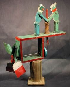 American Folk Frog Whirligig - Carved and painted frogs churning butter