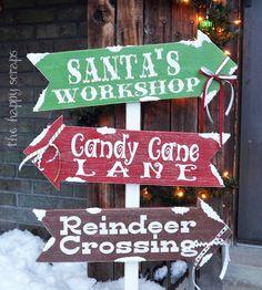 DIY Santa's Workshop + Candy Cane Lane + Reindeer Crossing Directional Sign #DIY #HomeDecor #YardDecor #Decor #Decorate #Decorations #Christmas #Signs #DirectionalSigns