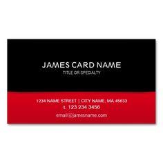 Elegant Black Red business card