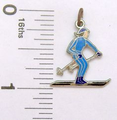 Charm Griffith Sterling Silver enamel FEMALE SKIER sports #Griffith #Traditional