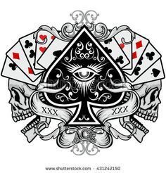 Gothic coat of arms with skull, and ace of spades grunge.vintage design t-shirts Tattoo Sketches, Tattoo Drawings, Ace Of Spades Tattoo, Tattoos For Guys, Cool Tattoos, Spade Tattoo, Card Tattoo Designs, Arte Punk, Gothic Coat
