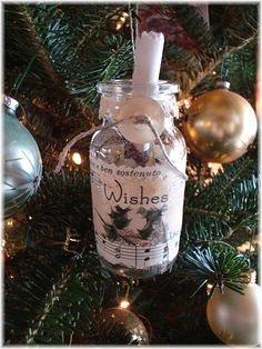 Christmas wishes in a bottle for holiday ornament