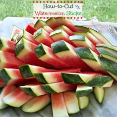 How-to-Cut Watermelon Sticks - a 4-step process for cutting watermelon sticks - perfect for an elegant dinner party or backyard barbecue. simplysated.com