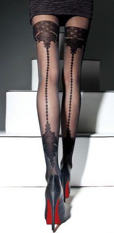 Sexy Strumpfhose Strumpf - Straps - Optik Muster 40DEN Gr.S,M,L zwei Farben