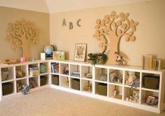 Kids playroom, LOVE the kid friendly, accessible cubbies and bins
