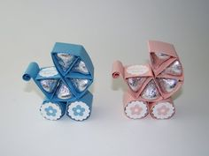 hand crafted favors for baby shower from Qbee's Quest ... video tutrorial ... baby carriage with Hershey's kisses ...
