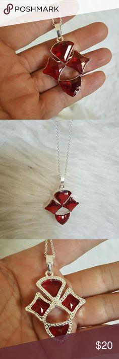 "Faceted Ruby crystal sterling silver Necklace 18"" 2"" pendant  18"" Necklace nwt Jewelry Necklaces"