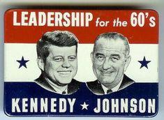 John Kennedy and Lyndon Johnson campaign button.