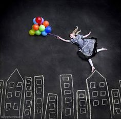 Sidewalk chalk, a digital camera and your imagination are all that are required for some very creative photos.
