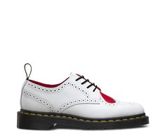 This version of the classic Dr. Martens brogue, with a bright red heart popping against white wingtip styling, is perfect for Valentine's Day vibes. The result, it'll bring joy to even the blackest of hearts. This classic features all the traditional Doc DNA, details including grooved durable rubber soles and yellow stitching — but also serves up red lining and brogue detailing.