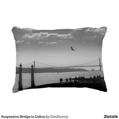Suspension Bridge in Lisbon Black and White Photo Cushion