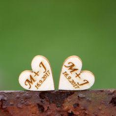Srdíčka s iniciály - sada 10 ks (15mm).
