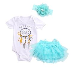 34b95e9aed Baby Girls Dreamcatcher Romper +Lace Tutu Skirt Outfit