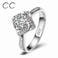 Square Shape Flower Rose Design Wedding Engagement Rings for Women Zirconia Diamond Jewelry Ring Bijoux Femme Wholesale CC095Rings