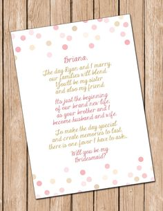 Will You Be My Bridesmaid, Sister In Law Card, Bridesmaid Card