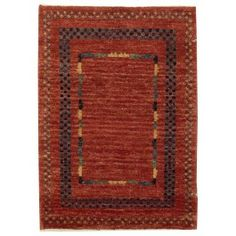 Handmade Rectangular Area Rug 2x3 in Red with Geometric Patterns area rugs