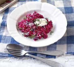 Creamy beetroot risotto subtract the cheese for a clean eating rizzo :) can't wait to try this on the ladies for dinner