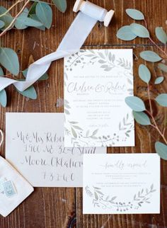 What lovely calligraphy these cute and organic invitations have! | Organic Whimsical Oklahoma Wedding Captured by Ely Fair Photography | Chelsea + Robert #bridesofok #oklahomabride #invitations