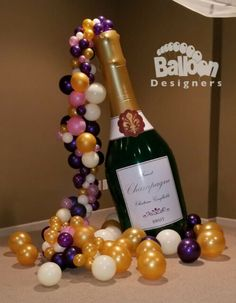 Inflatable Champagne Bottle - High Quality with Solid Bottom Champagne Balloons, Champagne Party, Balloon Centerpieces, Balloon Decorations Party, Baseball Theme Birthday, 21st Birthday Decorations, Balloon Delivery, Custom Balloons, Party Kit