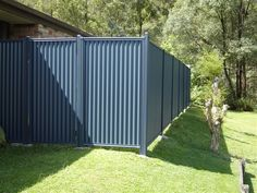 Corrugated galvanized steel fencing idea (prime surface with vinegar, let dry, paint with latex paint)
