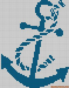 Anchor - cross stitch idea- can be worked as filet crochet Crochet Cross, Crochet Chart, Filet Crochet, Crochet Anchor, Crochet Stitch, Crochet Pattern, Embroidery Alphabet, Embroidery Patterns, Cross Stitch Charts