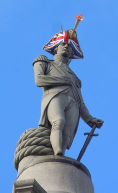Nelson's Column sporting a Union Jack hat for the London 2012 Olympics!