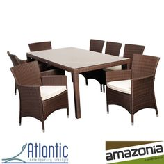 @Overstock - Grand Liberty Deluxe 9 Piece Brown Rectangular Dining Set - Enjoy time with friends and family outdoors with this nine-piece dining set designed for use on the patio or deck. This contemporary set is made of weather-resistant wicker, and the treated cushions repel water, so it can be left out all year long.  http://www.overstock.com/Home-Garden/Grand-Liberty-Deluxe-9-Piece-Brown-Rectangular-Dining-Set/8029039/product.html?CID=214117 $1,657.99