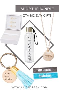 """We know you can't wait to spoil your new members this bid day. Now with this """"build your own"""" style gift bundle, you can build your own Zeta Tau Alpha bid day swag bag with trendy sorority gifts to fit any chapter budget. #biddaygifts #sororitybidday #ztabidday #zetataualpha #zta #buildyourown #custom #bidday #bundle #zetagifts #greekletterjewelry"""