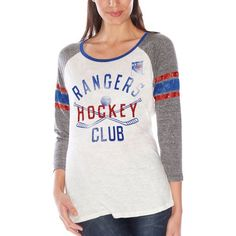 New York Rangers Women's GIII Wishbone 3/4-Sleeve T-Shirt – White - $44.99