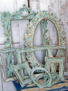 Aqua Distressed Ornate Frames
