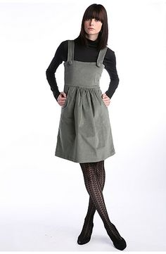 UrbanOutfitters com Peel Corduroy Pinafore Dress - Stylehive 70s Fashion, Fashion Dresses, Fashion Ideas, Winter Fashion, Corduroy Pinafore Dress, Wool Tights, Sweater Tights, Girls Tunics, Pretty Dresses
