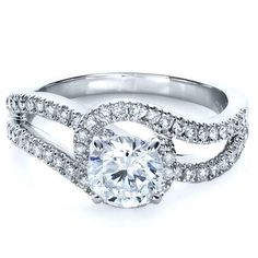 Diamond Split Shank Engagement Ring | Joseph Jewelry Seattle Bellevue