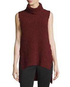 3.1 Phillip Lim High-Low Boucle Turtleneck Tank, Dark Vermillion