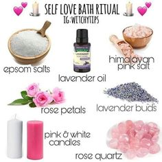 Tips for Witches Everywhere! on Self Love Bath Ritual Spiritual Bath, Spiritual Cleansing, Magick Spells, Jar Spells, Hoodoo Spells, Bath Recipes, Herbal Magic, Rose Candle, Baby Witch