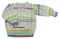 Hand knitted baby jumper in cream, mauve, green and yellow 3 - 6 months £15.00