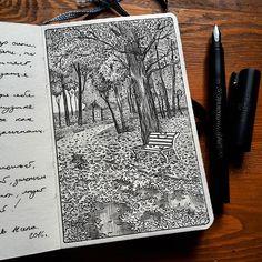 """""""Golden land of autumn"""" in my #hahnemühle #sketchbook #illustration #fountainpen #pendrawing #linedrawing #inksketch #sketchwalker #urbanart #usk#modernart #art#artsy#urbansketch #urbansketcher #fabercastell #moleskine_arts #usk#ekaterinburg #drawing #рисунок #графика #скетч#park #galleryart #picture#doodle#linework#fineliner"""