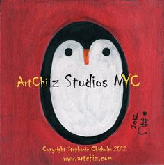 Baby Penguin Art Print  5 X 5 Matted  Art Print  The by ArtChiz, $20.00