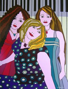 Acrylic on canvas titled .'Women and a Piano'. Arts Award, Australian Artists, Art Education, Piano, Have Fun, Canvas, Artwork, People, Anime