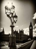 Royal Lamppost UK and Houses of Parliament and Westminster Bridge - Big Ben - London - England