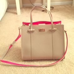 Kate Spade Crossbody Handbag (ARBOUR HILL ELODIE) Kate Spade tan purse. Has a shoulder strap and is bright pink inside. It's is practically BRAND NEW. I have never used it, never even took it out of my house. I only took the tag off of it. It's a great purse for the spring season coming up! Comes with the dust bag!    ACCEPTING REASONABLE OFFERS! kate spade Bags Crossbody Bags