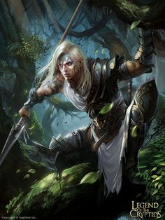 human or elf ranger with spear, very fierce