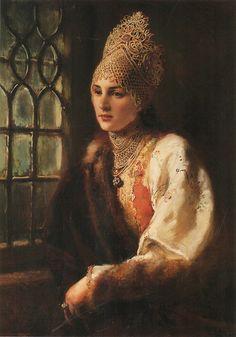 "Konstantin Egorovich Makovsky (1839 – 1915, Russian), ""THE BOYARINA"""