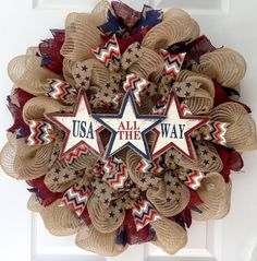 "USA All The Way Patriotic Burlap Handmade Deco Mesh Wreath. Beautiful! New! Pemium! Full! Handmade Patriotic Wreath. Three rustic wood stars, with the wording "" USA All The Way"", rests on a bed of creamy burlap. The stars are distressed white and outlined in red and blue. Burlap red, white and blue chevron ribbons and canvas ribbons with navy blue stars surround the center. The outer ring has beautiful red burlap with blue canvas star ribbons. Perfect for all patriotic holidays and year..."