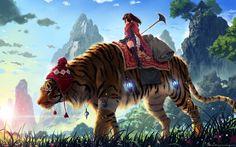 Woman and Tiger Fantasy Wallpaper