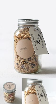 From The Kitchen Of Stamp via The Penny Paper Co. Stamp hang tags, or stickers & attach to mason jar