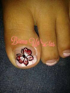 Toenail Art Designs, French Tip Nail Designs, French Tip Nails, Toe Nail Art, Toe Nails, Nail Picking, New Nail Art Design, Butterfly Nail Art, Toe Polish
