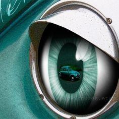 VW Beetle. Teal. Vintage Chrome Headlight. Eyelashes. Photo 12x16