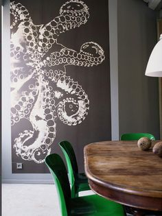 Large scale octopus art wall...great for a sea theme room for Abe, maybe.