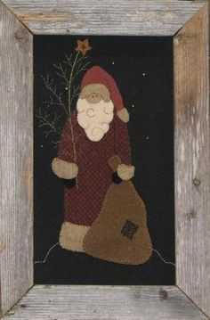 North Woods Santa Digital Patten by honeyncloves on Etsy Penny Rug Patterns, Wool Applique Patterns, Felt Applique, Embroidery Applique, Christmas Applique, Christmas Sewing, Christmas Embroidery, Primitive Christmas, Primitive Fall